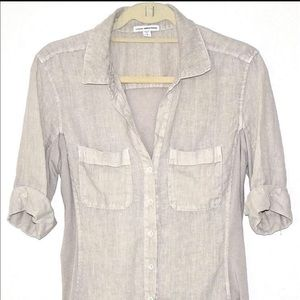 James Perse Cotton Linen Button Down Shirt